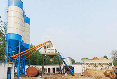Camelway Hzs50 Concrete Batching Plant installs in Ghana for producing concrete