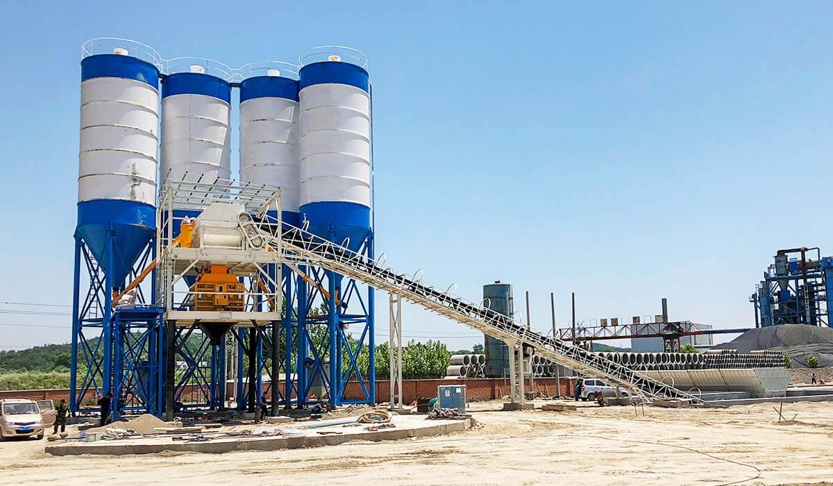 HZS180 concrete batching plant in Mongolia