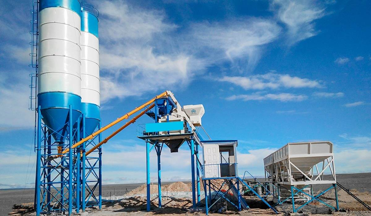 HZS50 concrete batching plant in Pakistan