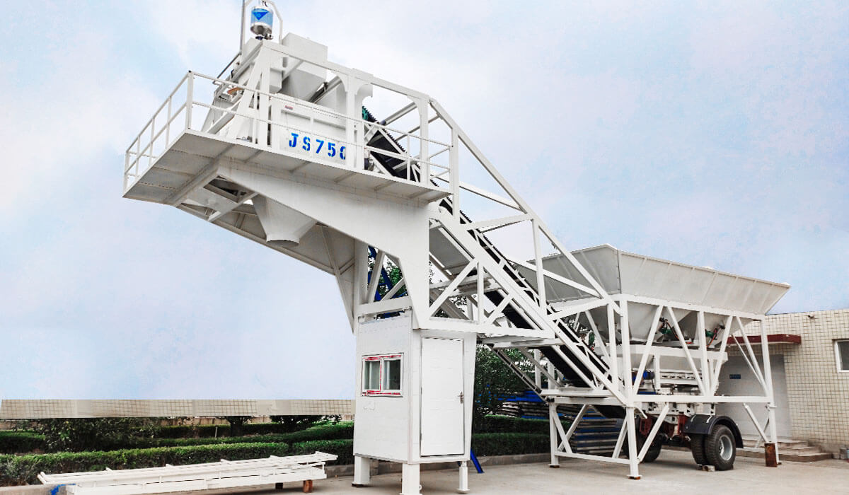 YHZS35 Mobile Concrete Batching Plant in Indonesia