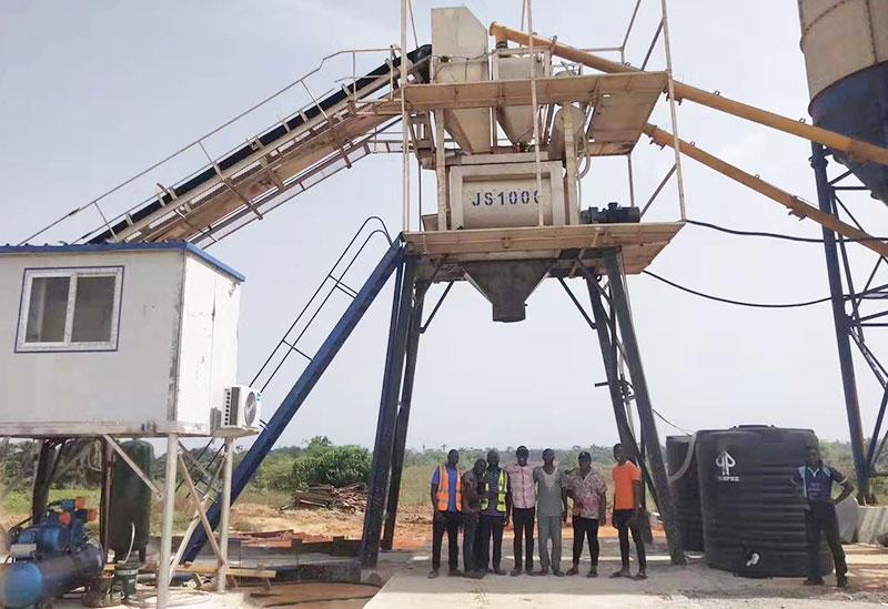 Group photo under HZS60 Concrete Batching Plant in Nigeria