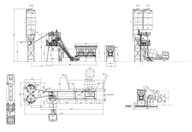 Stationary Concrete Mixing Plant Layout